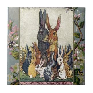 Easter Bunny Family Portrait Ceramic Tile