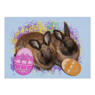 Easter Bunny Fantasy - Happy Easter! Print