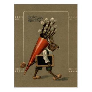 Easter Bunny Flower Postcard
