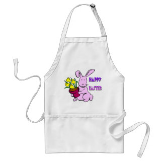 Easter Bunny Flowers Adult Apron