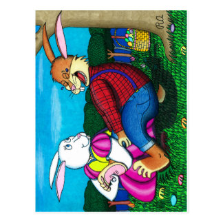 Easter Bunny Foot Tickle Postcard