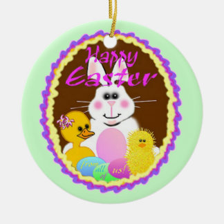 Easter Bunny Gifts Double-Sided Ceramic Round Christmas Ornament