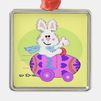 Easter Bunny Gifts Square Metal Christmas Ornament