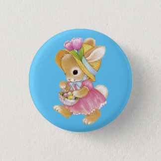 Easter Bunny Girl Button