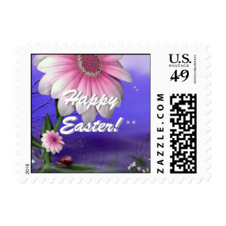 Easter Bunny Girl Flowers Postage