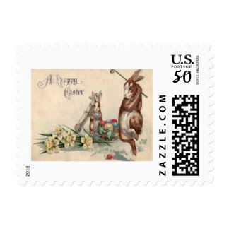 Easter Bunny Golf Colored Painted Egg Daffodil Postage