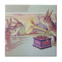 Easter Bunny Gramophone Phonograph Tile