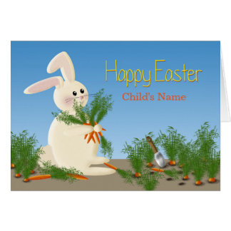 EASTER BUNNY GREETING - PERSONALIZE W/CHILD'S NAME CARD
