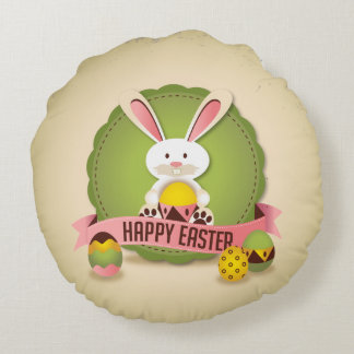 Easter Bunny Greeting Round Pillow