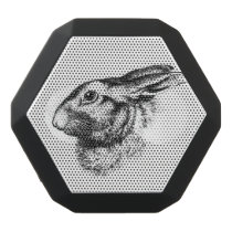 Easter Bunny Hare Rabbit Vintage Illustration Black Bluetooth Speaker