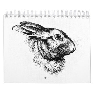 Easter Bunny Hare Rabbit Vintage Illustration Calendar