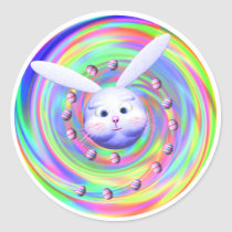 Easter Bunny Head Spin Classic Round Sticker