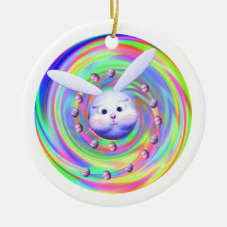 Easter Bunny Head Spin Double-Sided Ceramic Round Christmas Ornament