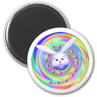 Easter Bunny Head Spin 2 Inch Round Magnet