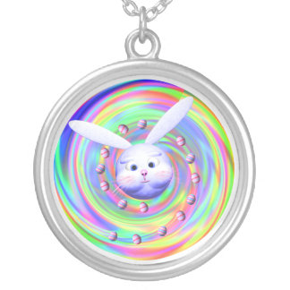 Easter Bunny Head Spin Round Pendant Necklace