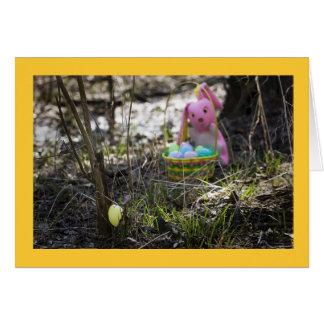 Easter Bunny Hiding Eggs Easter Card