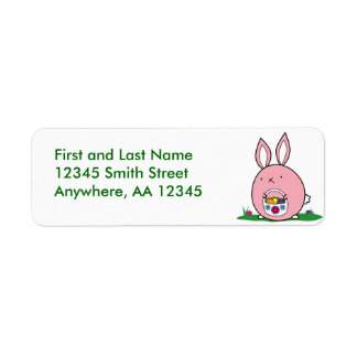 Easter Bunny Hiding Eggs Label