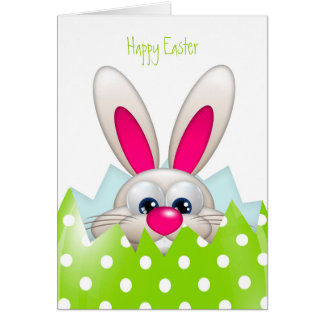 easter bunny hiding in egg with greetings card