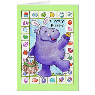 Easter Bunny Hippo Greeting Card