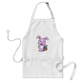 Easter Bunny Holding Basket of Eggs Adult Apron