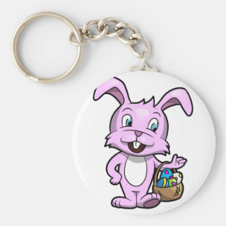Easter Bunny Holding Basket of Eggs Basic Round Button Keychain