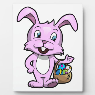 Easter Bunny Holding Basket of Eggs Plaque