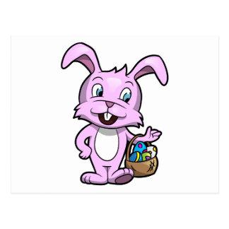 Easter Bunny Holding Basket of Eggs Postcard
