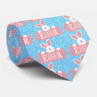 EASTER BUNNY HOLDING SIGN NECK TIE