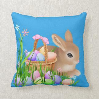 Easter bunny Holiday fun basket throw pillow