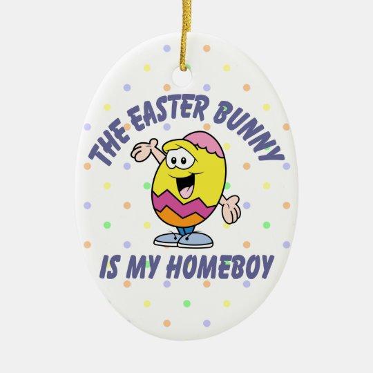 Easter Bunny Homeboy Ceramic Ornament