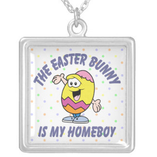Easter Bunny Homeboy Square Pendant Necklace