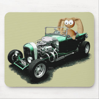 Easter Bunny Hot Rod Mouse Pad