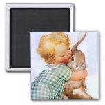 Easter Bunny Hug Magnet