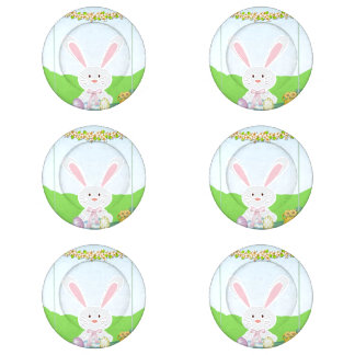Easter bunny illustration button covers