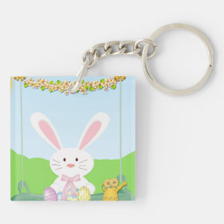 Easter bunny illustration keychain