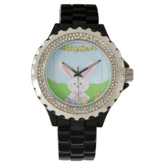 Easter bunny illustration wrist watch
