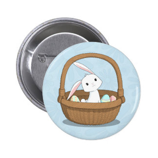 Easter Bunny in a Basket Pinback Button