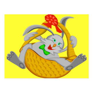 EASTER BUNNY IN A BASKET POSTCARD
