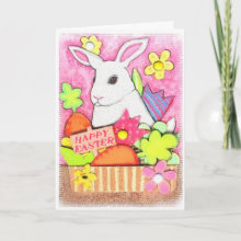 Easter Bunny in Basket Greeting Card - A basket full of sweet things!