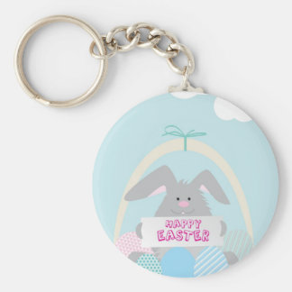 easter bunny in basket keychain