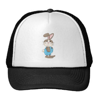 easter bunny in overalls trucker hat
