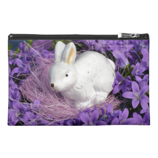 Easter Bunny in Purple Flowers Travel Accessories Bags