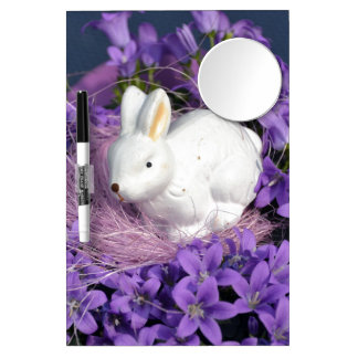 Easter Bunny in Purple Flowers Dry Erase Whiteboards