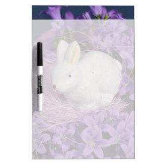 Easter Bunny in Purple Flowers Dry-Erase Whiteboard
