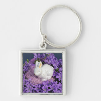 Easter Bunny in Purple Flowers Keychain