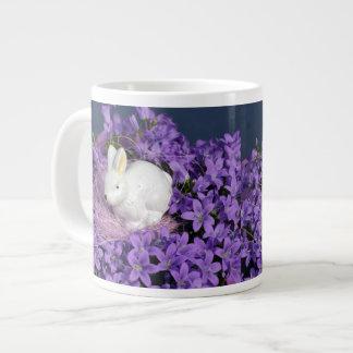 Easter Bunny in Purple Flowers Large Coffee Mug