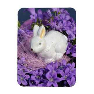 Easter Bunny in Purple Flowers Rectangle Magnet