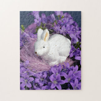 Easter Bunny in Purple Flowers Puzzle