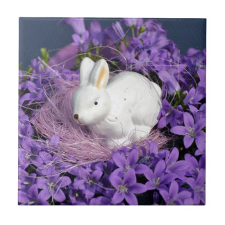 Easter Bunny in Purple Flowers Small Square Tile