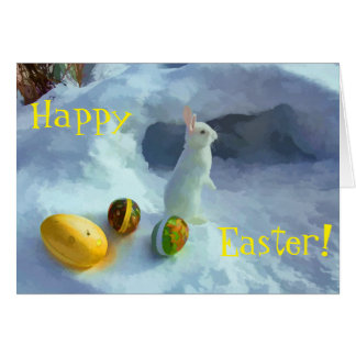 Easter bunny in snow card